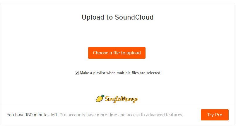 SoundCloud Upload Screen